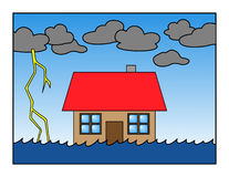 Global warming. Rising sea level and global warming house Stock Image