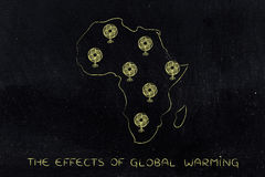 Global warming, africa and funny electric fans Stock Photo