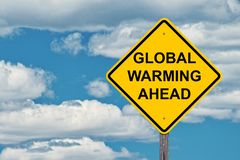 Global Warming Ahead Caution Sign royalty free stock photo