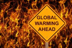Global Warming Ahead Caution Sign royalty free stock photography