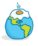 Global warming or cartoon planet frying an egg Stock Image