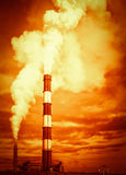 Global Warming Chimney Stack Emissions Royalty Free Stock Images