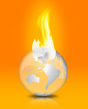 Global Warming/Climate Change. A glossy glass globe is on fire against an orange background. Perfect for the ongoing climate debate. Perfect to raise awareness Stock Image