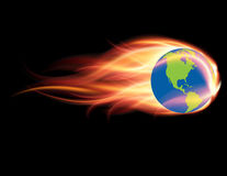 Global Warming & Climate Change Concept. Global Warming & Climate Change Concept - Earth Globe on Fire - Burning Planet Destruction Stock Photo