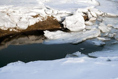 Global warming and climate change the concept because of melting ice. Spring thaw Stock Photos