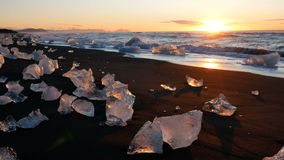 Climate ocean wave ice glacier sunset stock video footage