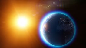 Global warming and climate change, satellite view of the earth and the sun. Space and stars atmosphere, ozone hole royalty free stock photography