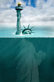 Global Warming, Climate Change, Weather. Abstract concept for global warming and climate change. America and democracy are underwater from the polar ice cap melt Stock Photos