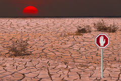 Global warming. Composite image made from my own photos. Image symbolizes ecological disasters Stock Photos
