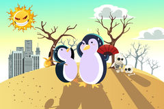 Global warming concept. A vector illustration of a global warming concept, with penguins on a dry hot land Royalty Free Stock Photography