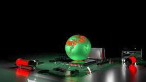Global warming concept. earth globe on processor. With circuit board,3d render Royalty Free Stock Photography