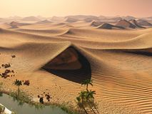 Global warming concept. Lonely sand ridges under dramatic evening sundown sky at drought desert scenery 3d rendering Royalty Free Stock Image