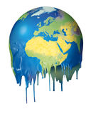 Global warming concept planet melting. Melting planet dripping global climate warming concept stock illustration