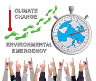 Global warming concept pointed by several fingers stock illustration