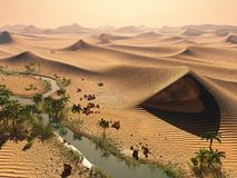 Global warming concept. solitary sand dunes under impressive evening sundown sky at drought desert scenery 3d rendering Royalty Free Stock Image