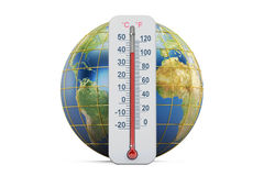 Global warming concept. Thermometer with Earth globe,  3D render Royalty Free Stock Photo