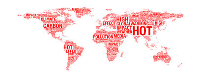 Global warming concept on world map Royalty Free Stock Photos