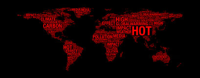 Global warming concept on world map Stock Photo