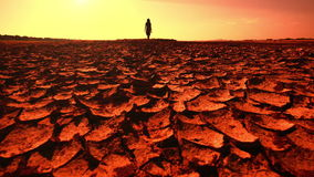 Global warming concept. Young woman walking across desert. Global warming concept. Young woman walking across dramatic cracked desert landscape at sunset stock footage
