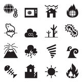 Global warming , Disaster , catastrophe icons set  Stock Photography