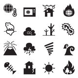 Global warming , Disaster , catastrophe icons set Stock Photo