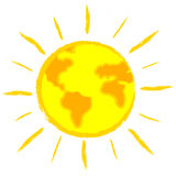 Global warming: earth-sun Stock Image