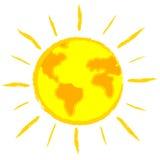 Global warming: earth-sun Stock Image