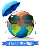 Global warming with earth and umbrella Royalty Free Stock Images