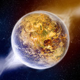 Global warming effect on earth. The planet earth is burning due to the effect of global warming Royalty Free Stock Image