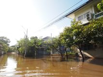 Global warming effect in town, low level flood water in urban zone stock photo
