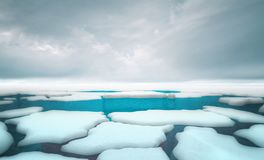 Cracked iceberg pieces with dark sky background template stock illustration