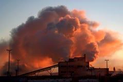 Global Warming Factory at Dawn Stock Image