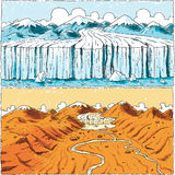 Global Warming Glacier. A cartoon showing a glacier receding over time because of climate change Stock Photography