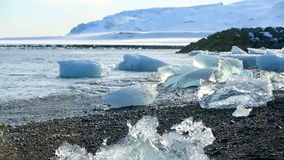 Global warming at a glacier lagoon Jokulsarlon in Iceland stock video