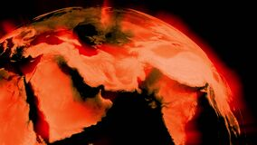 Global warming globe shows radiation and temperature - 3d animation