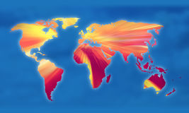 Global warming on the globe Royalty Free Stock Photo