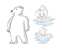 Global warming 4. Hand drawn digital illustration that expresses the problem of global warming. In the drawing we can see a polar bear at three stages, first Stock Photography