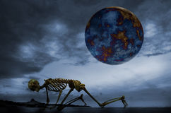 Global warming. Human skeleton, planet. Royalty Free Stock Images