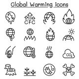 Global Warming icon set in thin line style Stock Photos