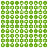100 global warming icons hexagon green Royalty Free Stock Image