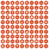 100 global warming icons hexagon orange. 100 global warming icons set in orange hexagon isolated vector illustration royalty free illustration