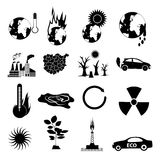 Global warming icons set Royalty Free Stock Photography
