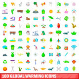 100 global warming icons set, cartoon style. 100 global warming icons set in cartoon style for any design vector illustration royalty free illustration