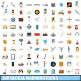 100 global warming icons set, cartoon style Stock Photo