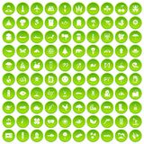 100 global warming icons set green circle. Isolated on white background vector illustration Stock Photography