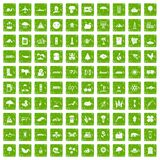 100 global warming icons set grunge green. 100 global warming icons set in grunge style green color isolated on white background vector illustration stock illustration