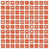 100 global warming icons set grunge orange. 100 global warming icons set in grunge style orange color isolated on white background vector illustration Royalty Free Stock Image