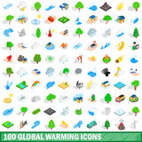 100 global warming icons set, isometric 3d style Royalty Free Stock Image