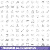 100 global warming icons set, outline style Stock Images