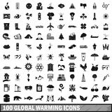 100 global warming icons set in simple style. For any design vector illustration Royalty Free Stock Image